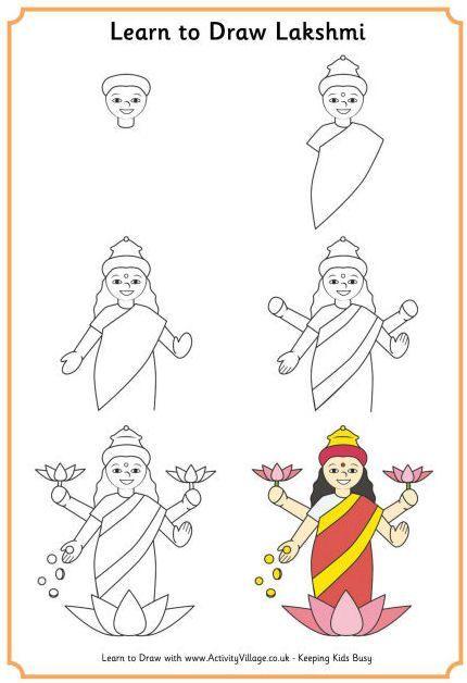 Apprendre à dessiner de Lakshmi, la déesse hindoue de la prospérité 4498    comment dessiner