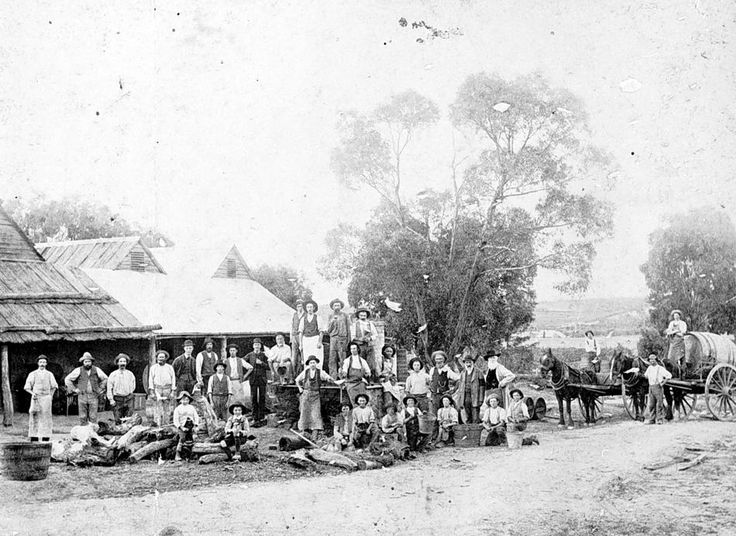 Workers outside the J. Best winery in Great Western, there is a horse-drawn cart carrying a large cask on the right, 1888.