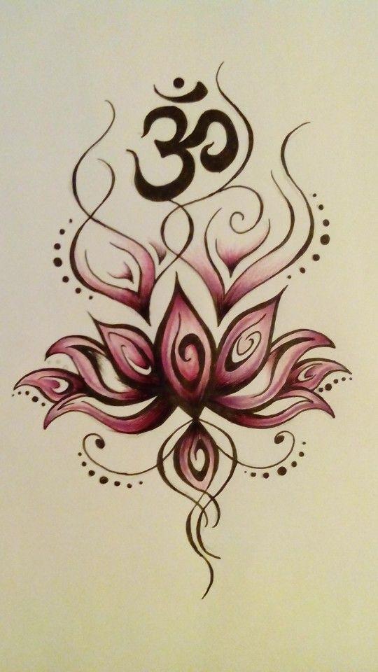 Lotus Flower And Om Symbol Tattoo