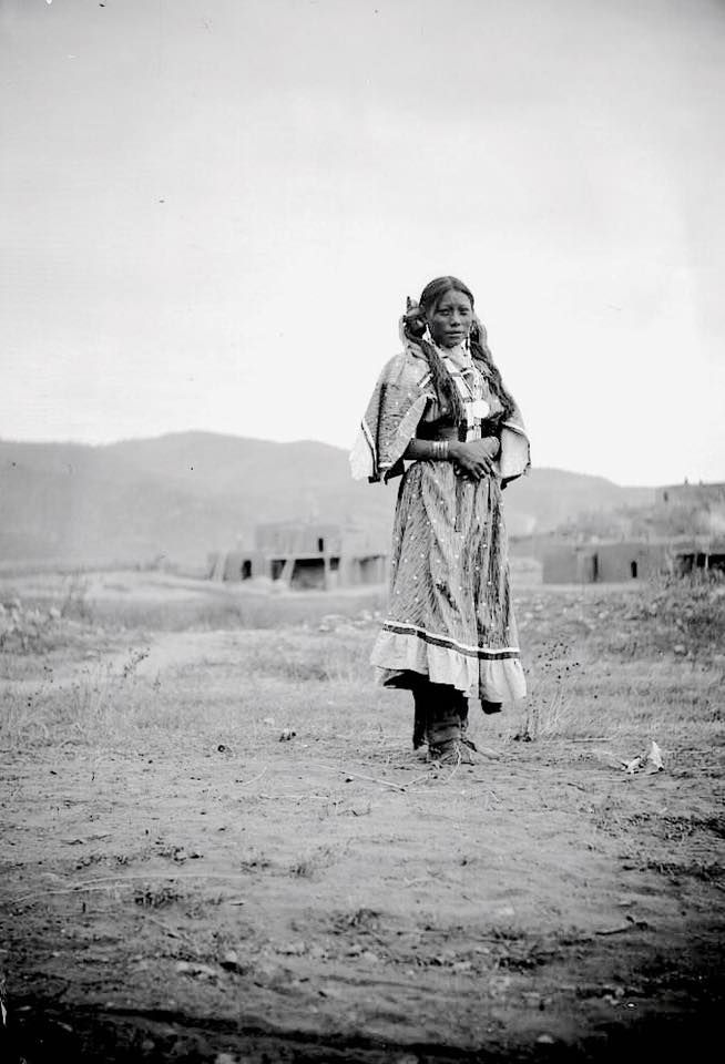 A Taos Pueblo girl. New Mexico. 1895. Photo by H.S. Poley.