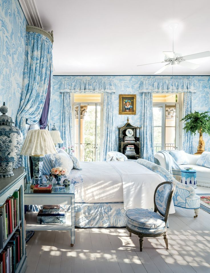 Beautiful Blue And White Bedroom Mario Buatta Decorated The Isaac Jenkins Mikell House In Charleston South Carolina For Patricia Altschul