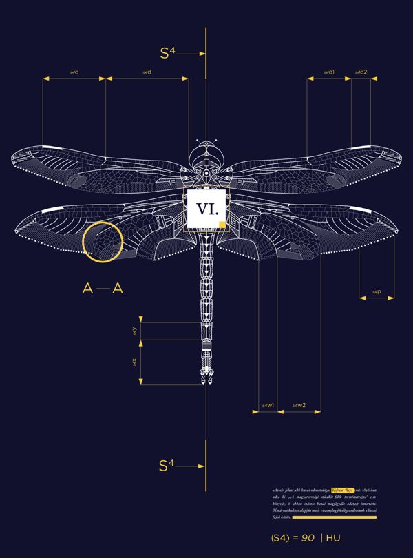 "Mechanical Insects by Márton Borzák   || According to the artist: ""Every design has it's own blueprint accompanied by textual and visual information about the chosen insect."""