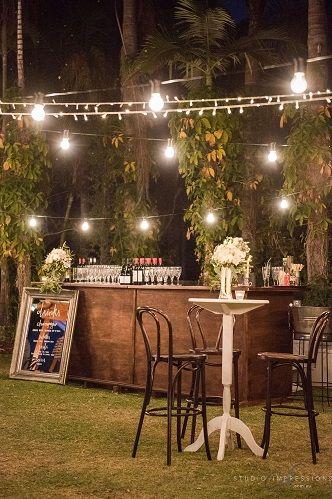 Dark Oak Bentwood Bar Stools and Timber Bar Cocktail Furniture | Lovebird Weddings
