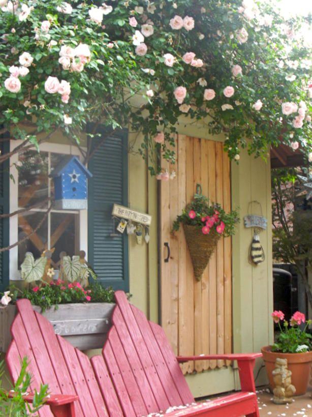 ROMANTIC GARDEN SHEDS: Gardens Ideas, The Doors, Backyard Sheds, Climbing Rose, Little Gardens, Gardens Houses, Front Doors, Romantic Gardens, Gardens Sheds