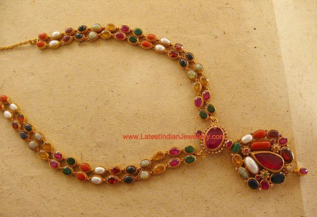 Rare Masterpiece crafted in Double Stringed Navaratna Necklace