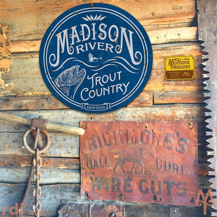 Vintage Madison River Wall Sign Home Decor