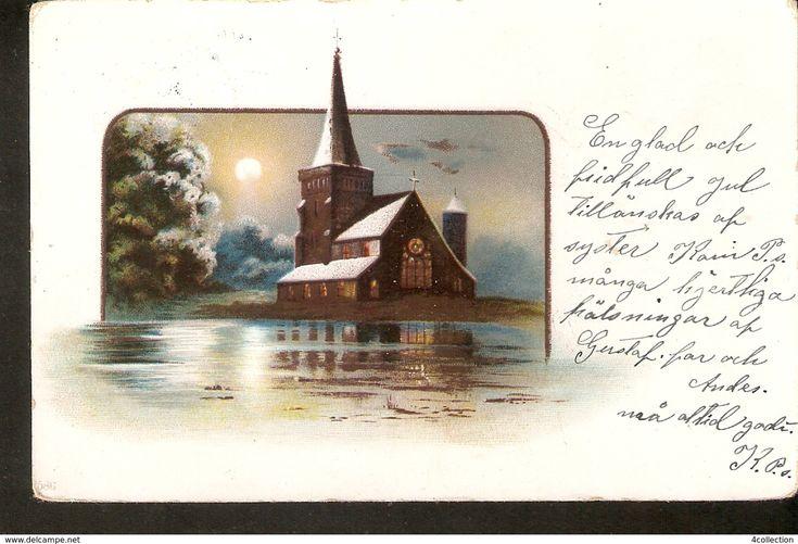 Old BREFKORT SVERIGE posted Postcard ART Painting Illustration - Church Sunset View - Sweden 1900s