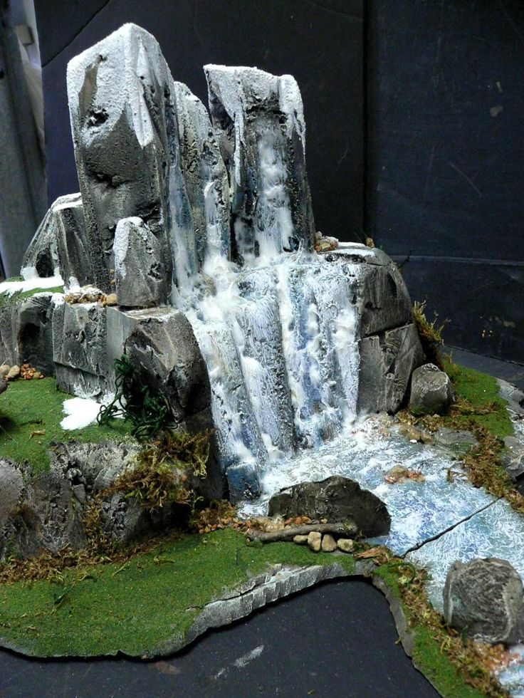 Frost, Hills, Stream, Terrain, Warhammer Terrain, Waterfall