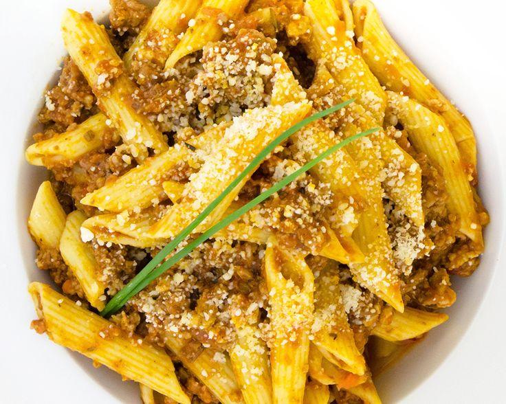 Penne Bolognese - Penne pasta, beef, pork, lamb, carrots, fennel, leeks, garlic, fresh herbs, parmesan