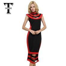 Фирма T-INSIDE, 2016 женское узкое платье в полоску, утягивающее, платье без рукавов, стиль Color-Block (цветовой блок), сексуальное платье(China (Mainland))