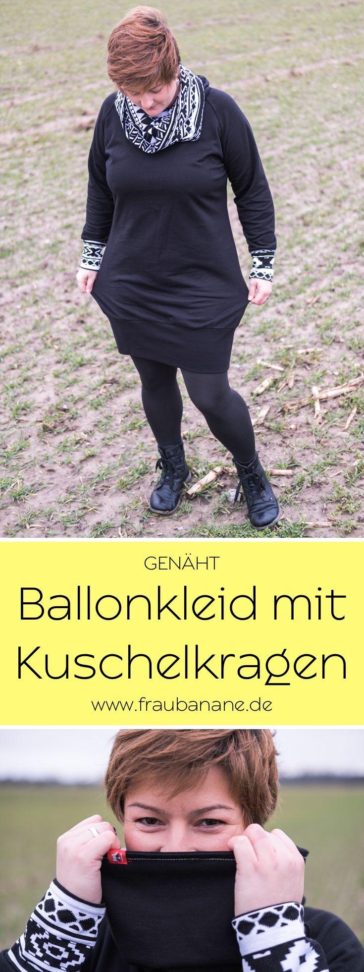 """Heute zeige ich euch mein neues Kuschelkleid für ungemütliche Wintertage. Genäht habe ich den Schnitt """"Kanga"""" von Jolijou. Das Kleid hat ziemlich genau ein Jahr auf seine Fertigstellung gewartet., da es mir erst nicht gefiel. Mit einer kleinen Änderung ist es nun zu meinem Lieblingskleid geworden! #fraubanane #ballonkleid #kleid #sweatkleid #kanga #jolijou #sweat #ethno #ikat #nähen #selbstgenäht #handmade #diy #genäht #schnittmuster #viskosejersey"""