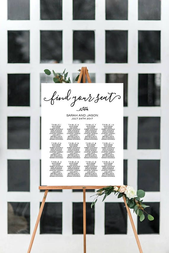 Wedding Seating Chart Printable Find Your Seat Sign Instant