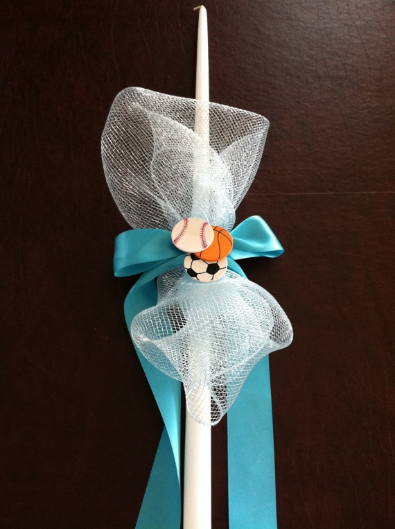 Boys Sports Themed Easter Candle/Lambada by MyLittleDetailsShop, $20.00