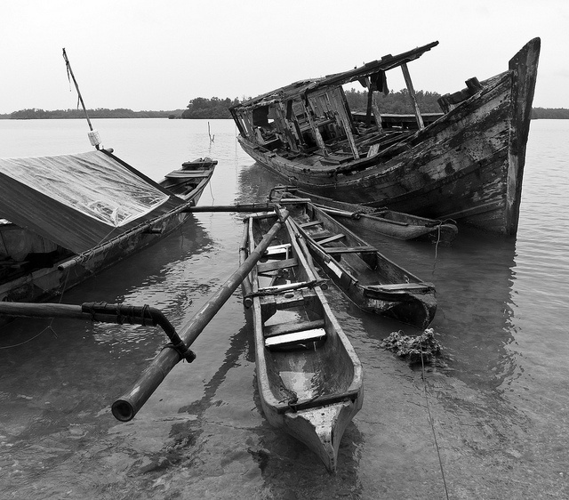 Canoes on Pulau Peucang, Ujung Kulon