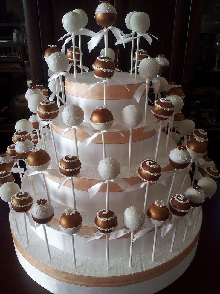 Bronze and white cake pops
