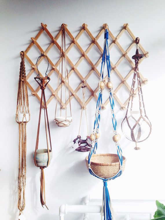 Giant Vintage Macrame Hanging Planter Blue Wooden by ethanollie » Love the Planter and the way they hang them!