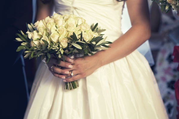 Olive tree branch and white rose bouquet. Via @Style Me Pretty