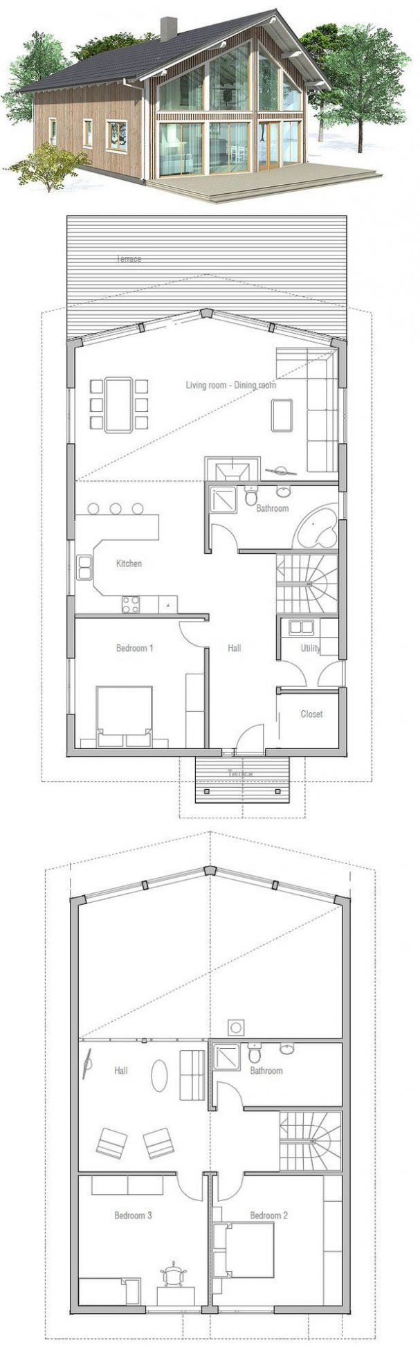 Small house plan to deep lot. High vaulted ceiling in the ...