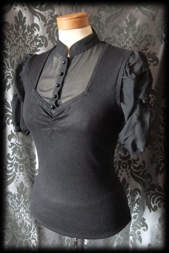 Goth Black Sheer Fine Knit VICTORIAN GOVERNESS High Neck Blouse 8 10 Steampunk - £19.00