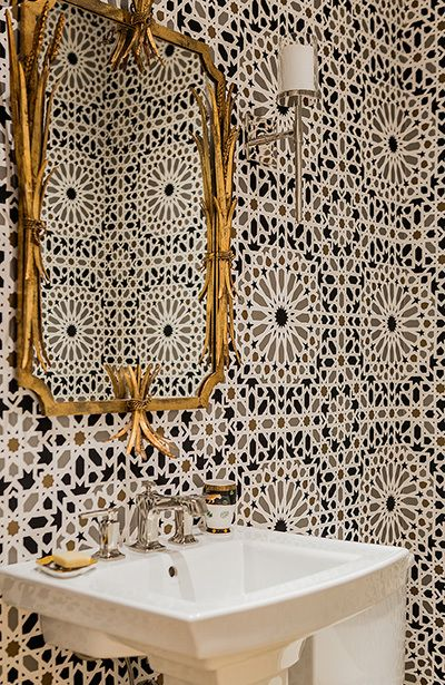 Bathroom in Schumacher Wallpaper Nasrid Palace Mosaic in Mica (Jill Litner Kaplan Interiors)