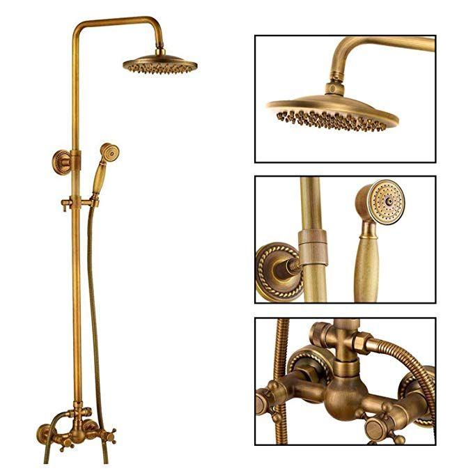 Antique Brass Bathroom Shower Faucet Set Brushed Gold Shower Fixture 8 Inch Rainfall Shower Head Handhe Shower Faucet Sets Gold Shower Fixtures Shower Fixtures Gold hand held shower head