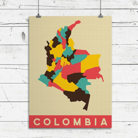 COLOMBIA Map Pint Fine Art Poster Country maps by ConsiderGraphics, $25.00