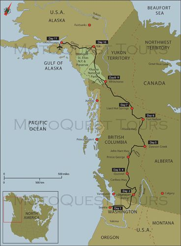 Map of North to Alaska Motorcycle Adventure Click here to find out more: https://www.motoquest.com/guided-motorcycle-tour.php?north-america-washington-oregon-canada-alaska-22