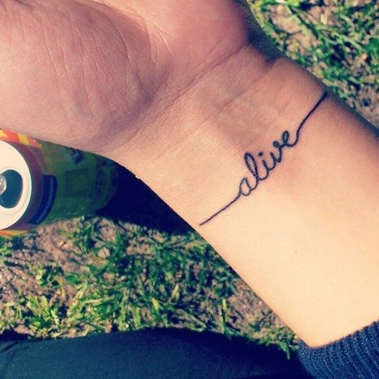 wrist tattoo placement. font tattoo. alive. instead of alive... maybe redeemed in the same font/style? hmm