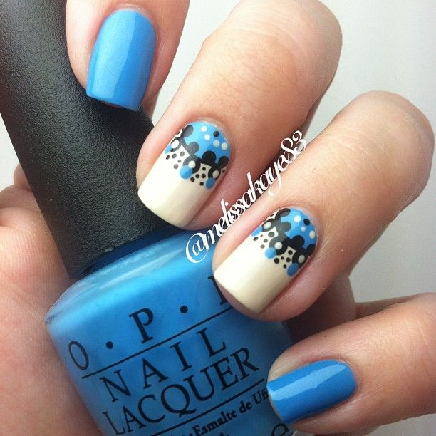 OPI No Room For The Blues || I think this nail art looks harder than it is! It's mostly dots!