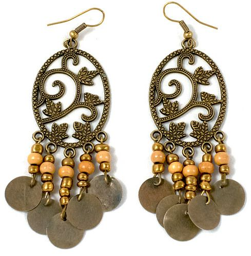 These are beautiful metal earrings with a pattern of a plant. They measure at 7 cm.