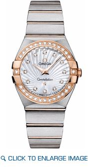 123.25.27.60.55.002 Omega Constellation Ladies White Mother of Pearl Diamond Watch