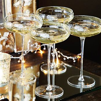 handmade champagne saucers - new year's ever