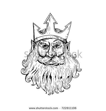 Retro woodcut style illustration of head of Poseidon, Neptune or Triton  Wearing Trident Crown viewed from front done in black and white.  #poseidon #woodcut #illustration