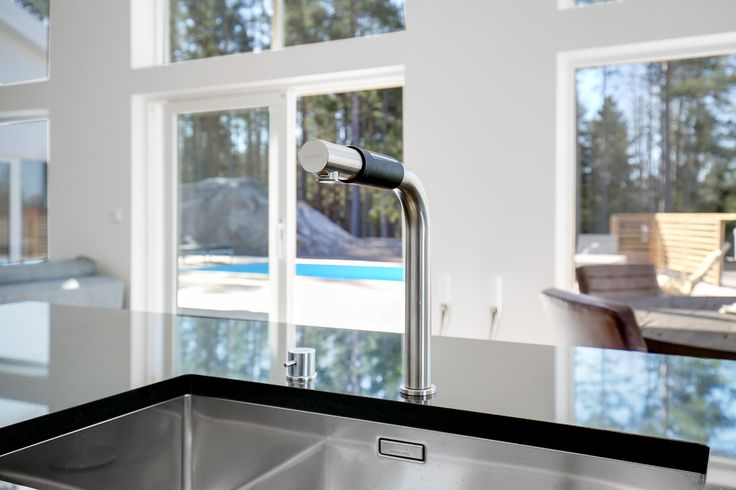 Black granite with a zink and tap from Blanco