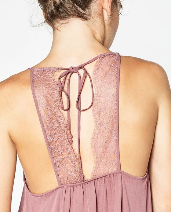 Image 7 of CONTRASTING LACE TOP WITH BACK BOW from Zara
