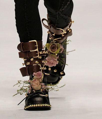 JW Anderson Fall 2010 boots. Leather studs and silk flowers!? Epic juxtaposition, I think I need my glue gun...
