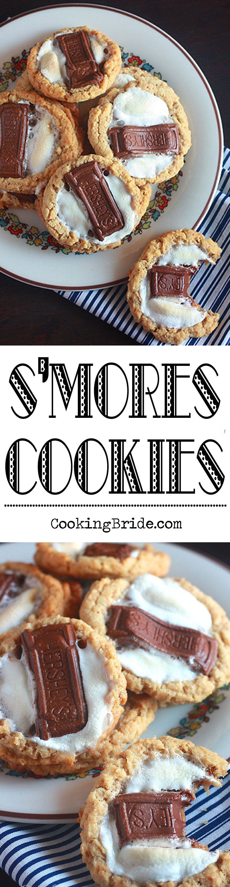 The base of these s'mores cookies is a very tender peanut butter and graham cracker cookie, topped with a chewy marshmallow and a melty piece of milk chocolate.