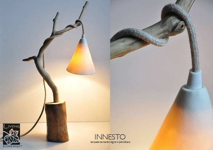 Lamps with porcelain shade   The perfect combination of porcelain and wood creates a soft glow full of mystery and wonder. #ceramic #Lampshade #ecodesign #driftwood #porcelain #LivyngEcodesign