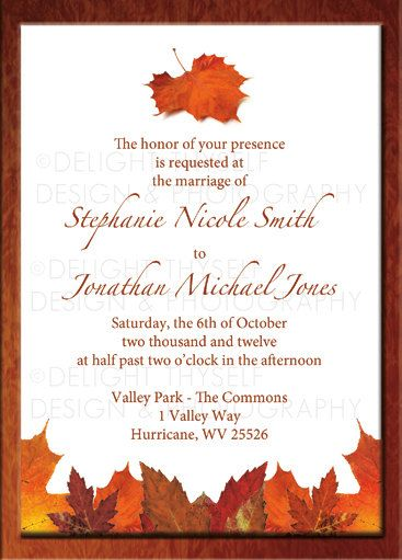 Fall Wedding Invitation   Digital Printable   With Different Font