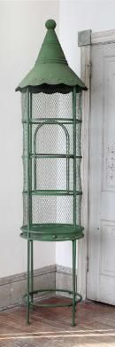 vintage tower birdcage /chippy green