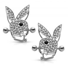 Playboy Bunny Double Tier Surgical Steel Nipple Ring Shield | Upgrade your sexy bombshell game with these unexpected, yet totally seductive nipple ring shields! Adorned with lots and lots of Cubic Zirconia gems, these double tier rose nipple piercings are the go-to accessory when aiming for the Playboy model look.