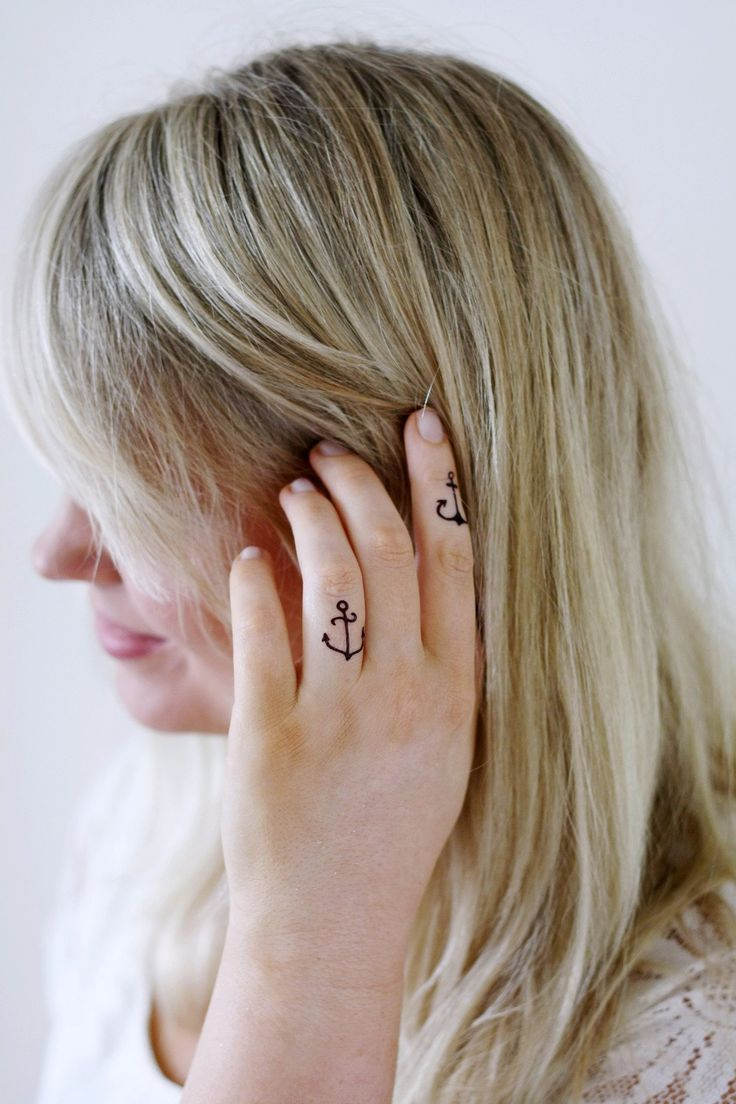 Small anchor finger tattoo (4 pieces) - a temporary tattoo by Tattoorary