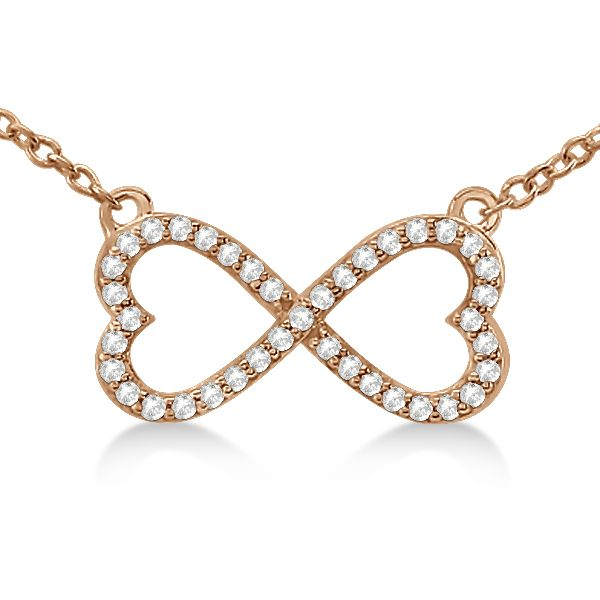 Pave Infinity Heart Diamond Pendant Necklace 14k Rose Gold (0.39ct) #necklace #rosegold #love #valentinesday #gift #giftsforher