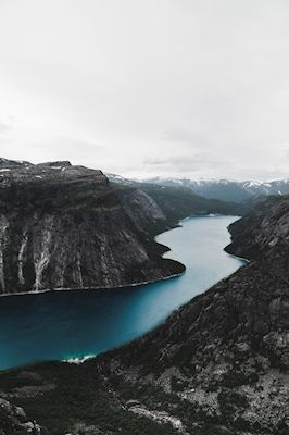 Jona Granath - FJORD FROM ABOVE. Norwegian fjord, blue waters.