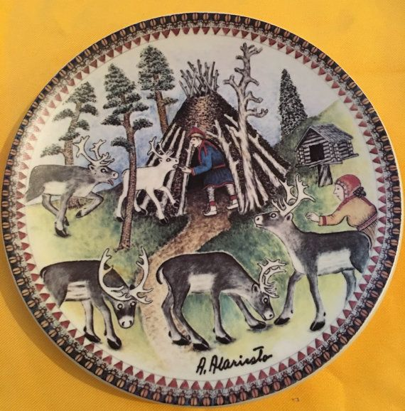 Signed Arabia Finland wall plate made from a original painting
