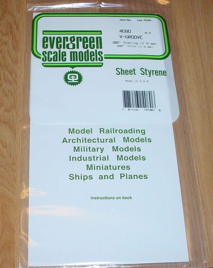 "Evergreen Styrene Sheet Plastic V Groove Siding .080 Building HO Diorama 12 x 6"" #Evergreen"