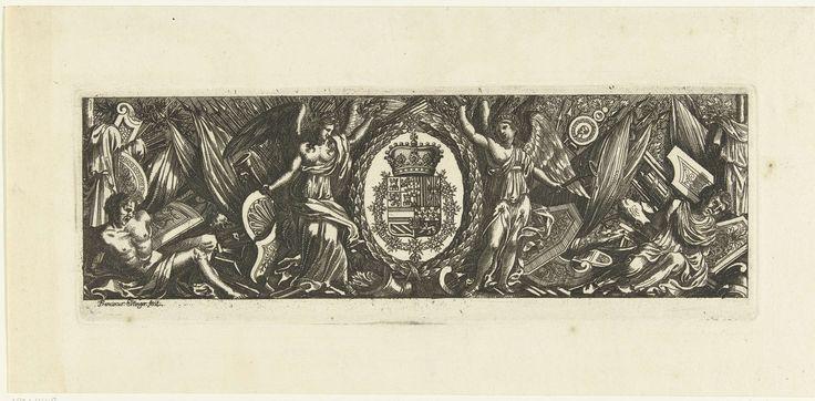 Franz Ertinger | Fries met wapentrofeëen, Franz Ertinger, Anonymous, 1650 - 1696 | In het midden staan twee engelen naast een lauwerkrans waarin het wapenschild van de Spaanse koning is verwerkt.