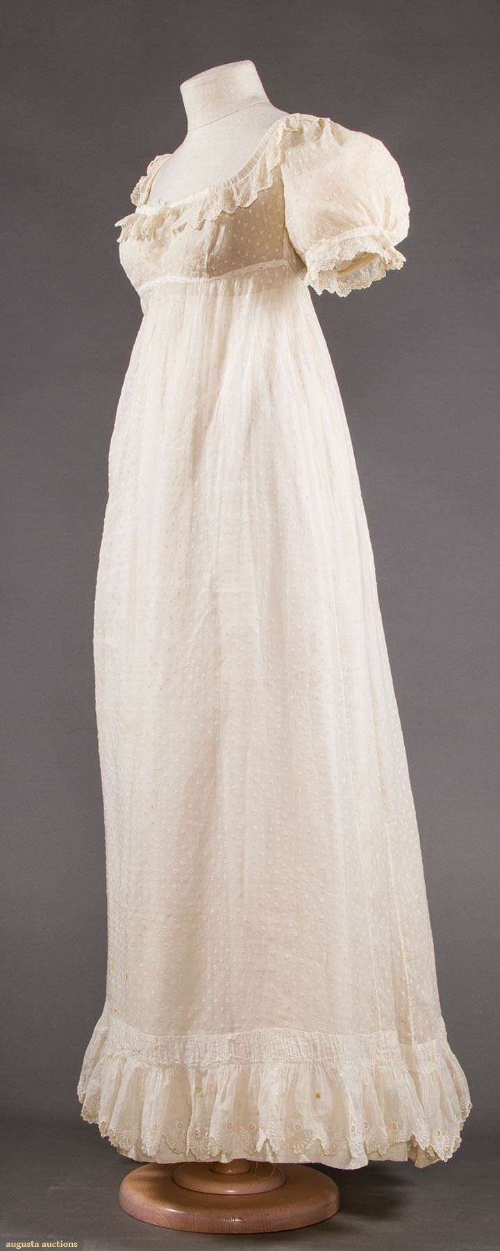 SPRIGGED MULL DRESS, 1820
