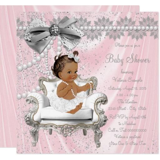 Pink Gray Pearl Chair Ethnic Girl Baby Shower Card