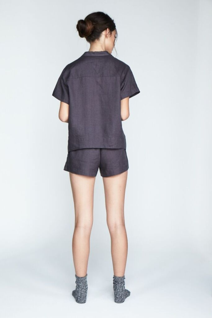 The 'Evie' Shirt and Short set in Charcoal - Andrea & Joen French Linen Loungewear Collection shot by Sylve Colless